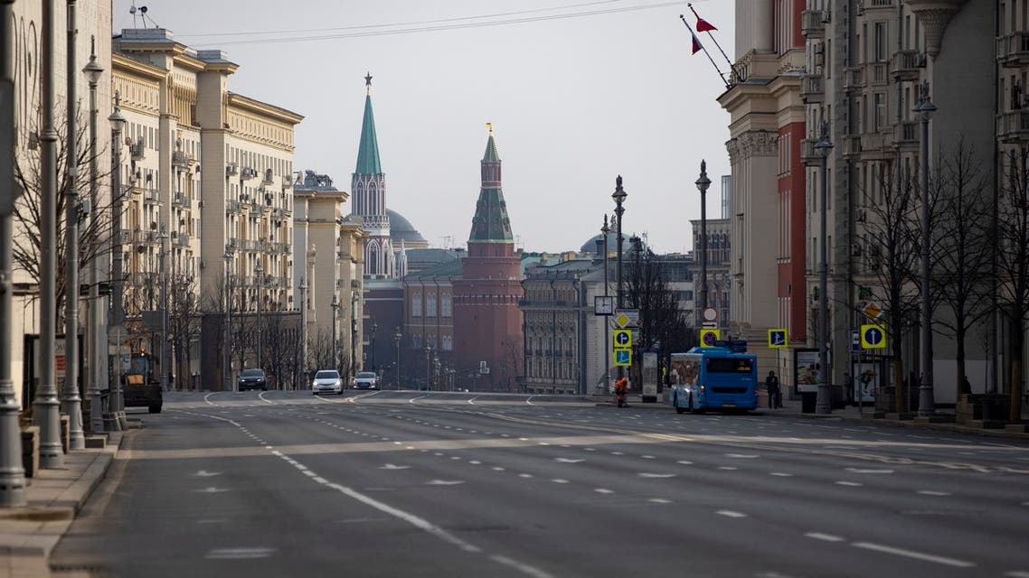 An almost empty Tverskaya Street usually full of cars at any time is seen toward Red Square during a self-isolation regime due to coronavirus, in Moscow, Russia, on Monday, April 13, 2020. (AP)