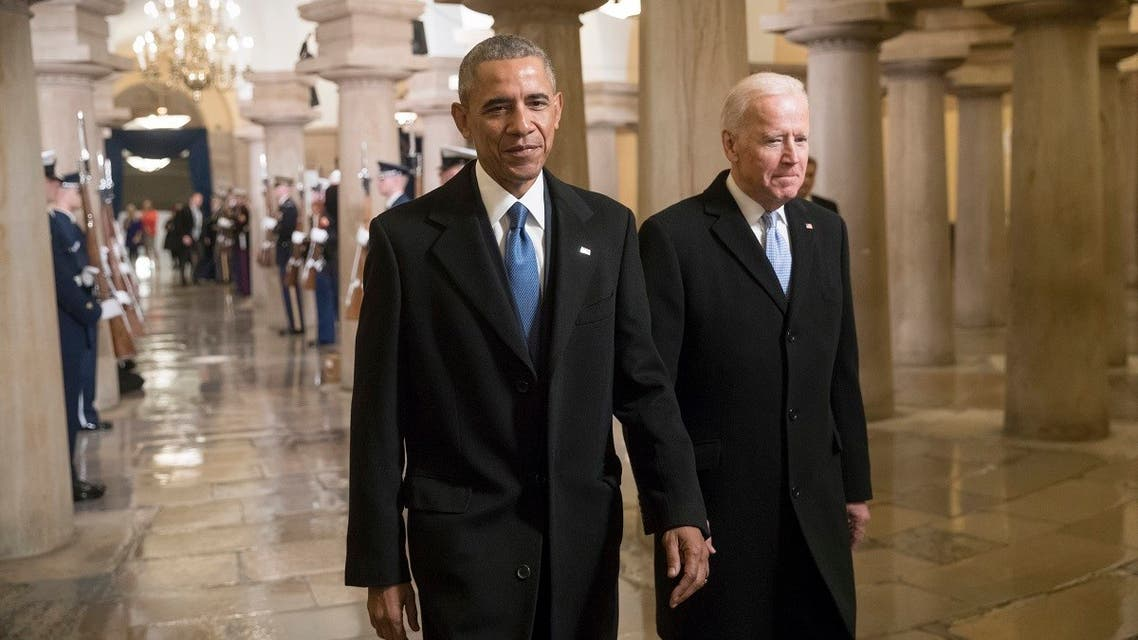 Barack Obama and Vice President Joe Biden walk through the Crypt of the Capitol for Donald Trump's inauguration ceremony, in Washington. (File photo: Reuters)