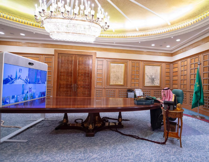 King Salman during a virtual meeting with the Saudi Cabinet. (SPA)