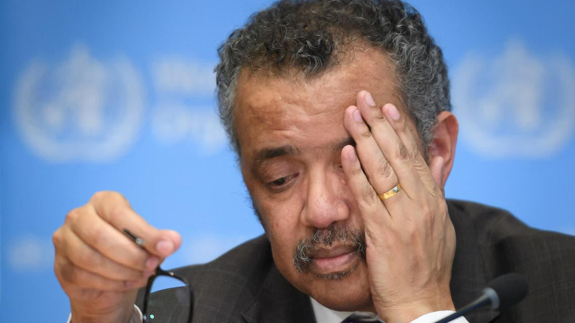 (FILES) In this file photo taken on February 28, 2020, World Health Organization (WHO) Director-General Tedros Adhanom Ghebreyesus attends a daily press briefing on COVID-19, the novel coronavirus, at the WHO headquaters in Geneva. US President Donald Trump announced on April 14, 2020, a suspension of US funding to the World Health Organization because he said it had covered up the seriousness of the COVID-19 outbreak in China before it spread around the world. Trump told a press conference he was instructing his administration to halt funding while a review is conducted to assess the World Health Organization's role in severely mismanaging and covering up the spread of the coronavirus.