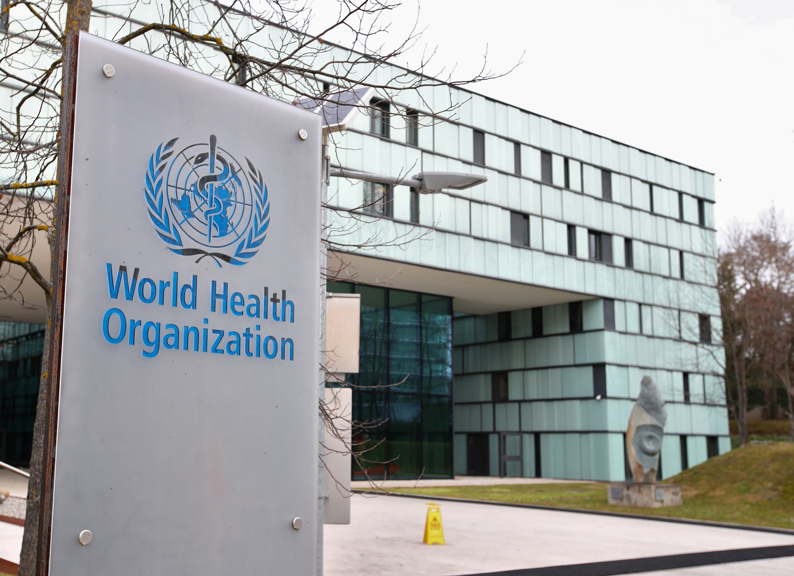 A logo is pictured outside a building of the World Health Organization (WHO) during an executive board meeting on update on the coronavirus outbreak, in Geneva, Switzerland, February 6, 2020. (Reuters)