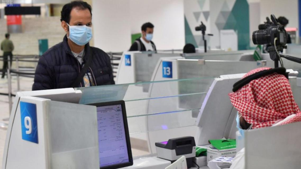 Saudi Arabian citizens arriving in King Khalid International Airport, in Riyadh. (SPA)