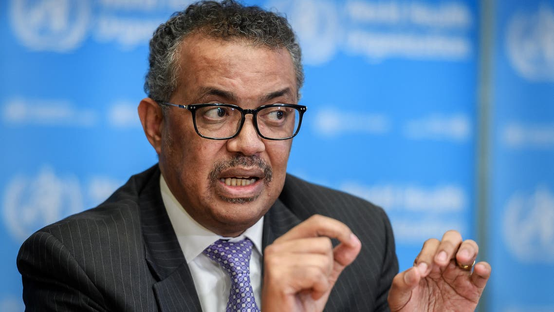 (FILES) In this file photo taken on March 09, 2020, World Health Organization (WHO) Director-General Tedros Adhanom Ghebreyesus speaks during a daily press briefing on COVID-19 virus at the WHO headquaters in Geneva. US President Donald Trump announced on April 14, 2020, a suspension of US funding to the World Health Organization because he said it had covered up the seriousness of the COVID-19 outbreak in China before it spread around the world. Trump told a press conference he was instructing his administration to halt funding while a review is conducted to assess the World Health Organization's role in severely mismanaging and covering up the spread of the coronavirus.