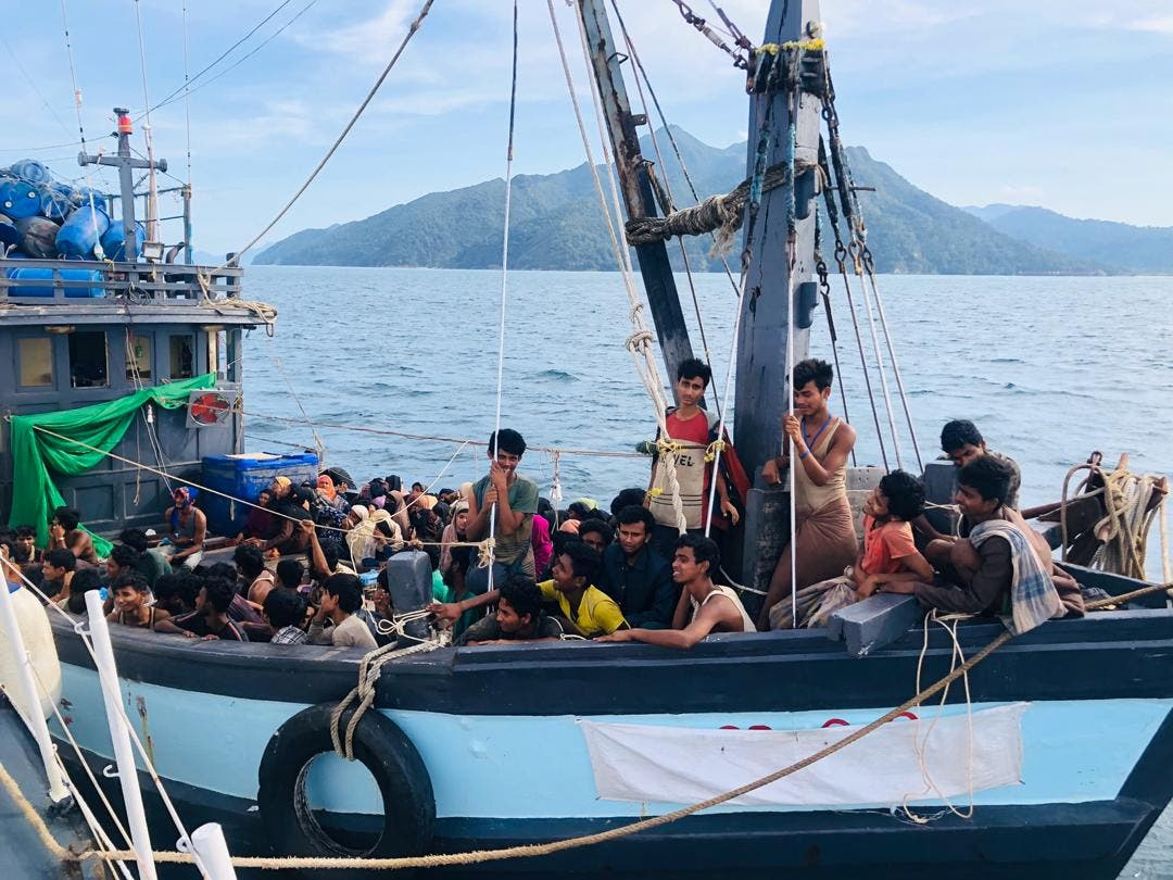 A boat - not the one referred to here - carrying suspected ethnic Rohingya migrants is seen detained in Malaysian territorial waters, in Langkawi, Malaysia April 5, 2020. (Reuters)