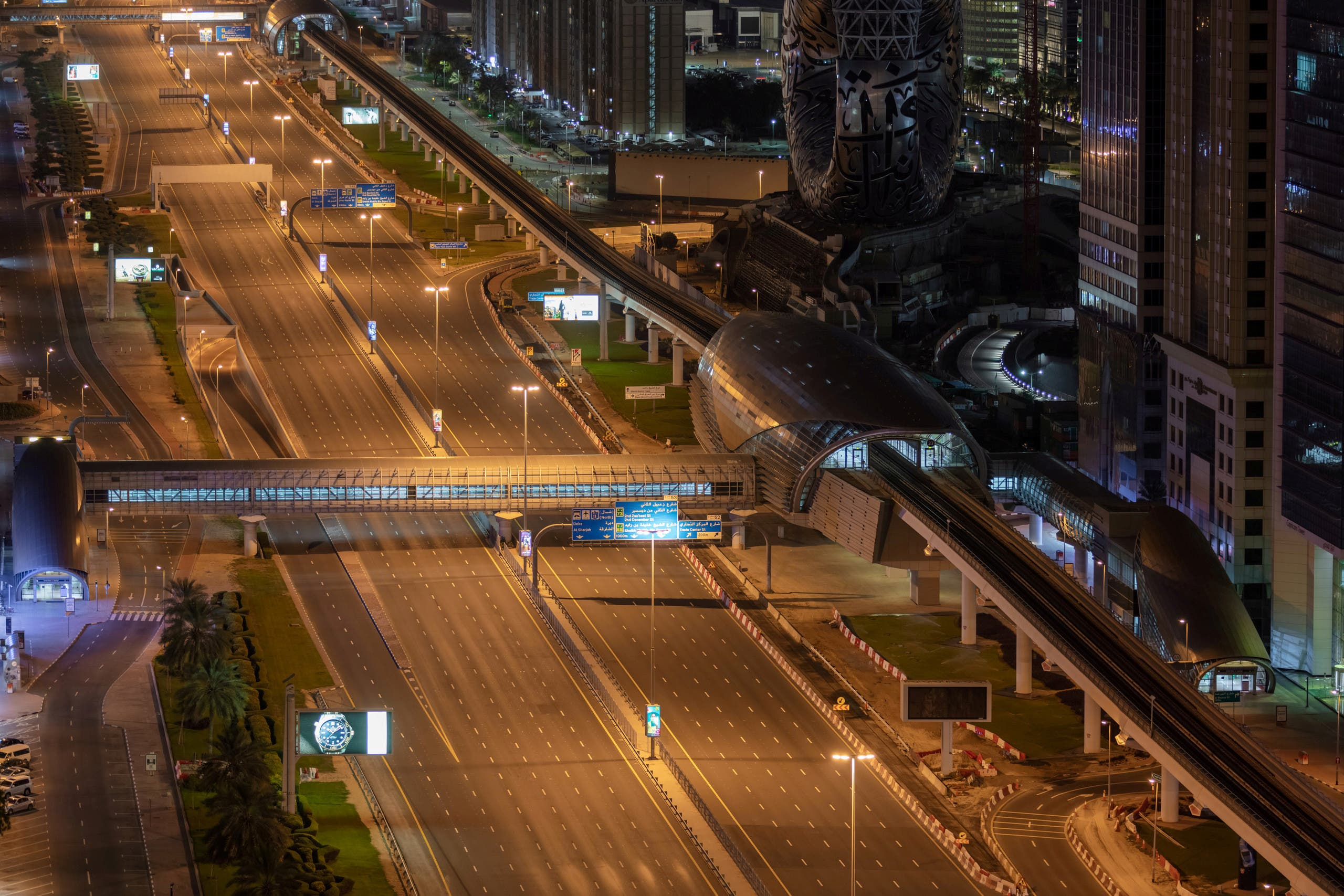 Sheikh Zayed Road, one of the main roads in Dubai, empty under lockdown. (Reuters)