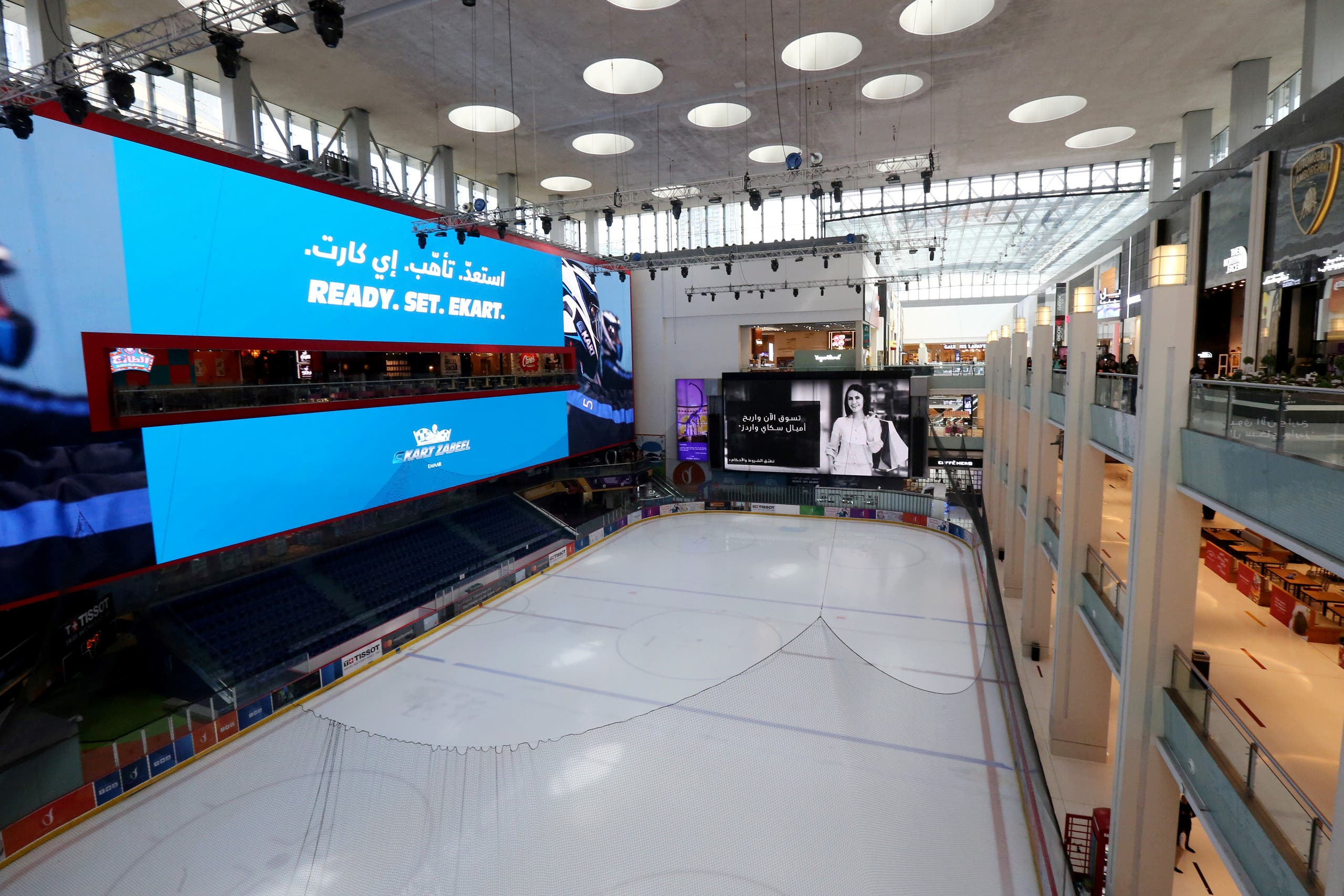The ice rink at Dubai's mall seen empty under lockdown conditions. (Reuters)