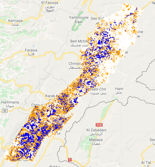 Satellite imagery from 2020 shows an 18 percent decrease from 2019 in cereal crops planted in Lebanon. (Supplied)