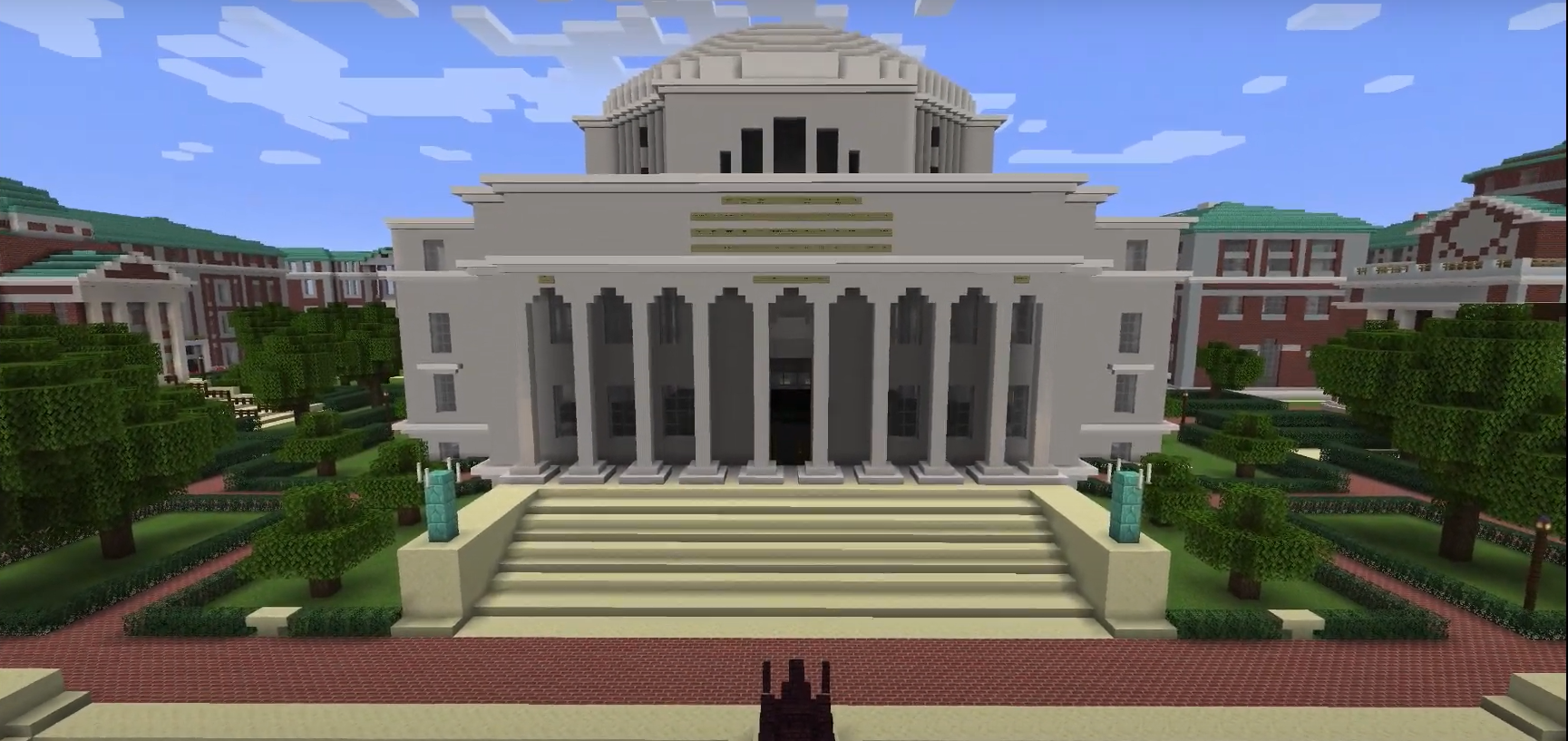 A view of Columbia University's Minecraft campus, Lioncraft. (Columbia University Communications)