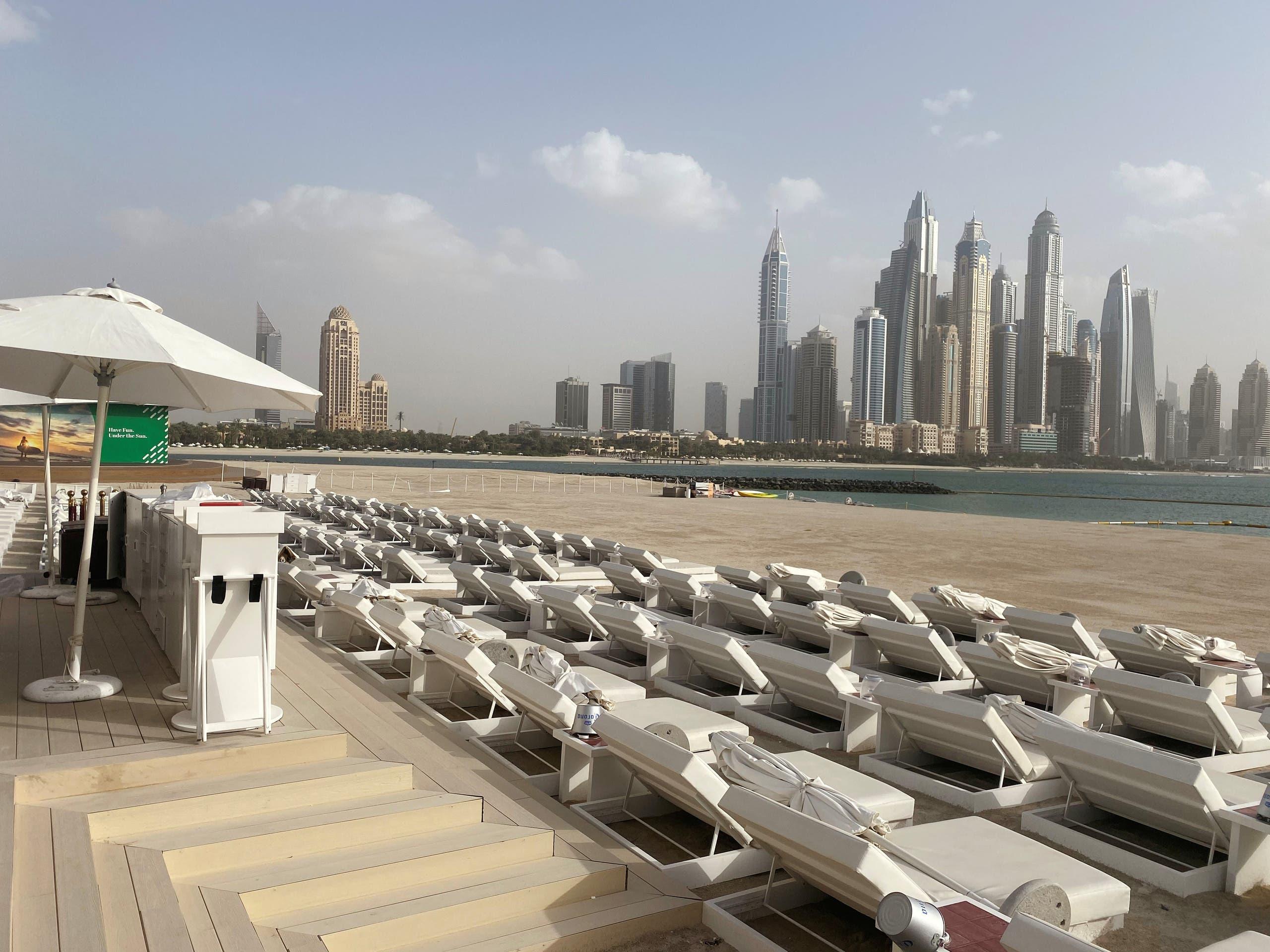 An empty beach on the Palm Jumeirah overlooking Dubai Marina. (Reuters)
