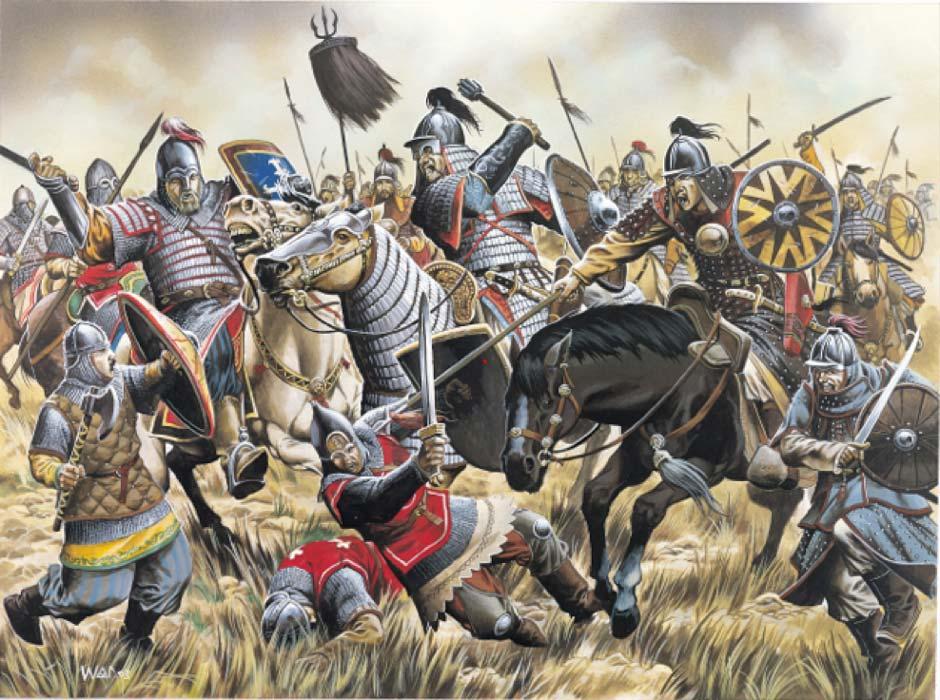 لوحة تجسد مقاتلين مغول