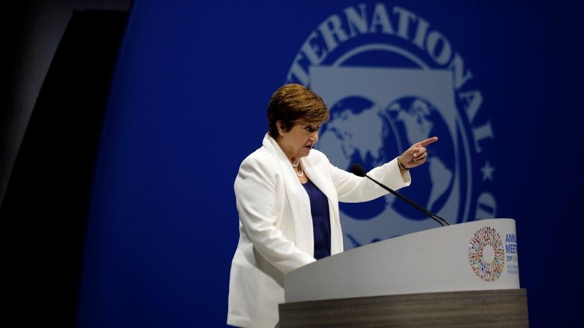 International Monetary Fund Managing Director Kristalina Georgieva addresses the fall meetings of the International Monetary Fund and World Bank in Washington, US, October 18, 2019. (Reuters)