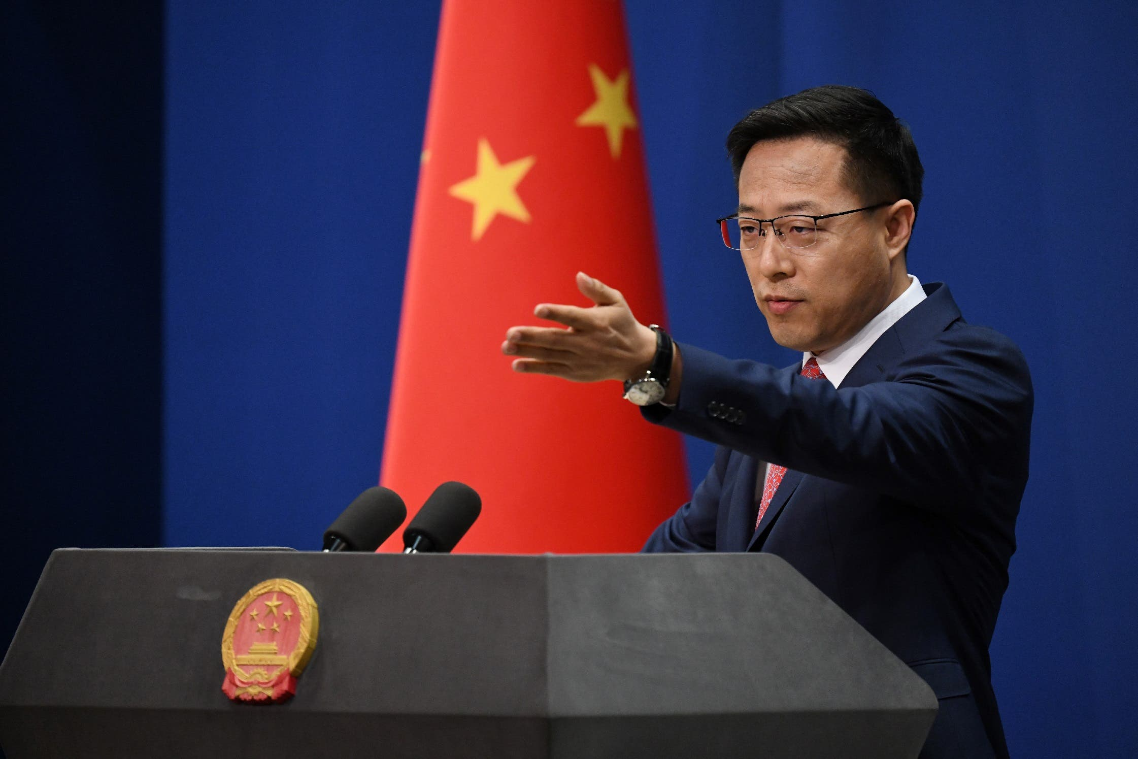 Chinese Foreign Ministry spokesman Zhao Lijian takes a question at the daily media briefing in Beijing on April 8, 2020. (AFP)