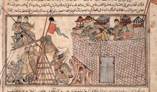 رسم تخيلي يجسد حصار المغول لإحدى المدن