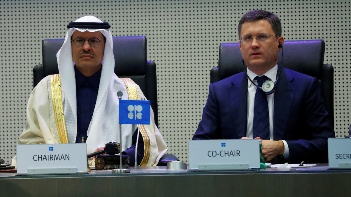 Saudi Arabia's Minister of Energy Prince Abdulaziz bin Salman Al-Saud and Russia's Energy Minister Alexander Novak are seen at the beginning of an OPEC and NON-OPEC meeting in Vienna, Austria, December 6, 2019. (Reuters)