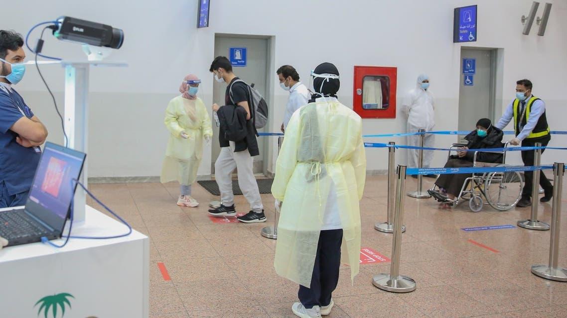 Repatriated Saudi citizens arrive at King Abdul Aziz International Airport in Jeddah, Saudi Arabia. (Twitter)