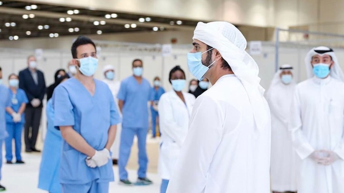 Dubai Crown Prince Sheikh Hamdan bin Mohammed bin Rashid al-Maktoum inaugurates a field hospital for coronavirus patients in Dubai World Trade Center, on April  18, 2020. (Twitter)