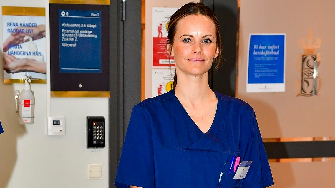 Princess Sofia of Sweden poses during her first day at work at the Sophiahemmet hospital in Stockholm, Sweden on April 16, 2020, amid the new coronavirus COVID-19 pandemic. (AFP)