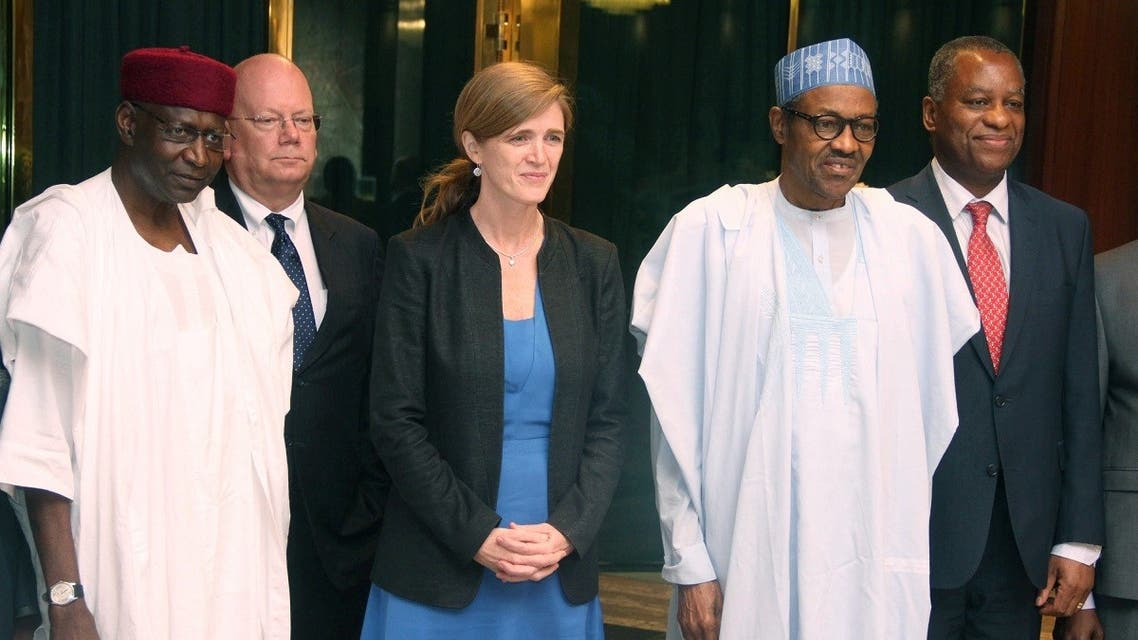 President Mohammadu Buhari poses in a group photograph with US Permanent Representative to the United Nations Samantha Power, while Chief of Staff to the President Abba Kyari (L). (File photo: AFP)