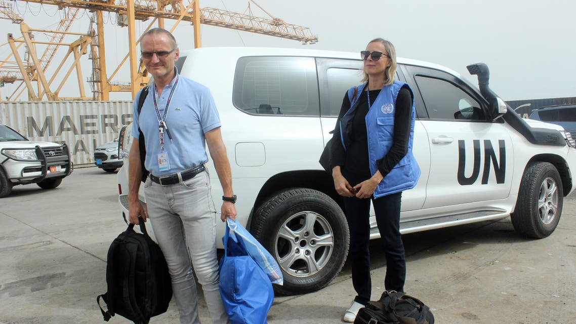 Representatives of the UN Redeployment Coordination Committee (RCC) arrive to attend a joint meeting with representatives of the Yemeni government and the Huthi rebels in Yemeni port city of Hodeida on July 14, 2019.