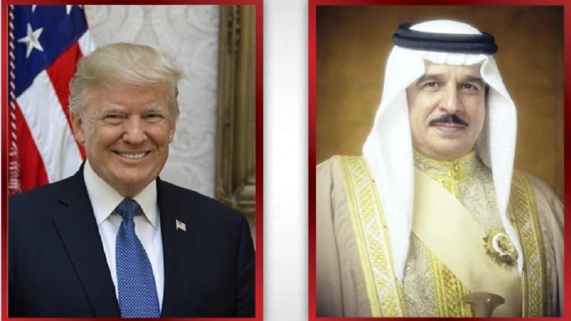 US President Donald Trump (L) and Bahrain King Hamad bin Isa Al Khalifa (R). (Bahrain news agency)