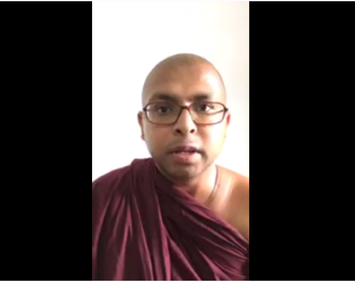 A screengrab of a Buddhist monk in Sri Lanka who filmed a video on YouTube warning people to stay indoors and alleging that Muslims had caught the virus in a village. (Screengrab)