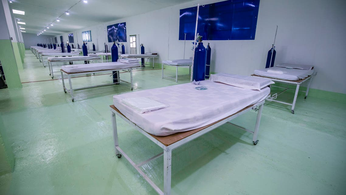 A picture taken on April 20, 2020 shows a 120-bed ward at a specialised hospital for coronavirus cases inaugurated by the Kurdish Red Crescent around 10 kilometres outside the Syrian city of Hasakeh after the first COVID-19 death was reported in the northeastern region. The United Nations on April 17 said a man aged in his fifties had on April 2 become the first fatality from COVID-19 in northeast Syria. In a region suffering from a lack of medical supplies, the news further raised fears of a breakout, including in its thronging camps for the displaced.