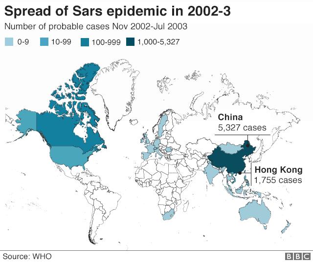 """""""خريطة تبرز انتشار مرضى سارس بالعالم وفق منظمة الصحة العالمية و""""بي بي سي"""
