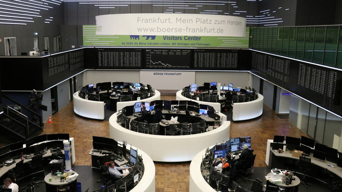 The German share price index DAX graph is pictured at the stock exchange in Frankfurt, Germany, on April 21, 2020. (Reuters)