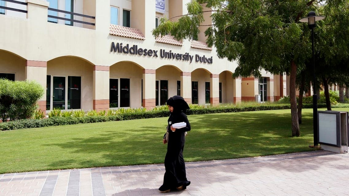 A student walks across the Middlesex University Dubai in Dubai, UAE, July 21, 2010. (Reuters)