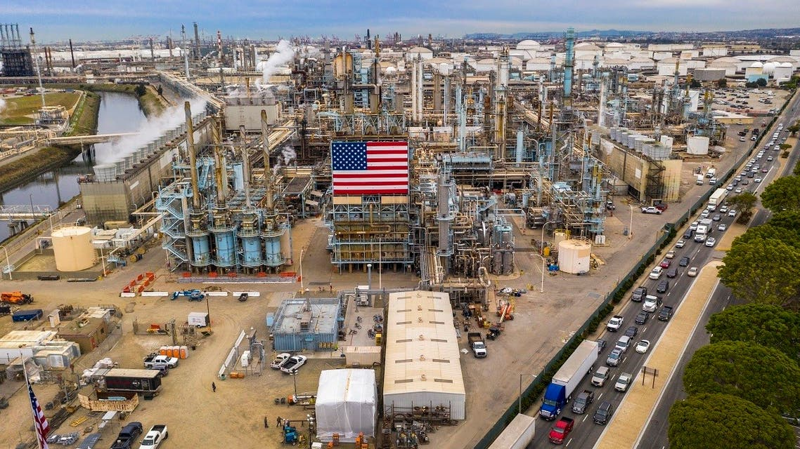 In this file photo the Marathon Refinery is seen in Carson, California, on March 9, 2020. (AFP)