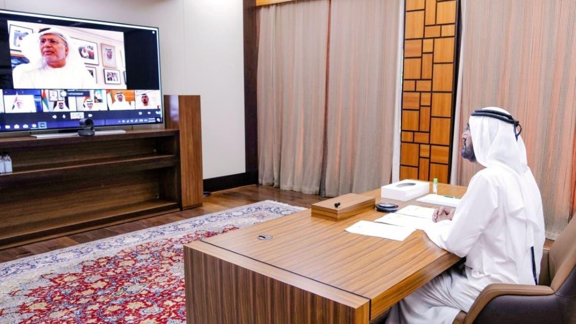 Sheikh Mohammed bin Rashid Al Maktoum, Vice President, Prime Minister and Ruler of Dubai chairs a virtual meeting of the UAE Cabinet on April 21, 2020. (WAM)