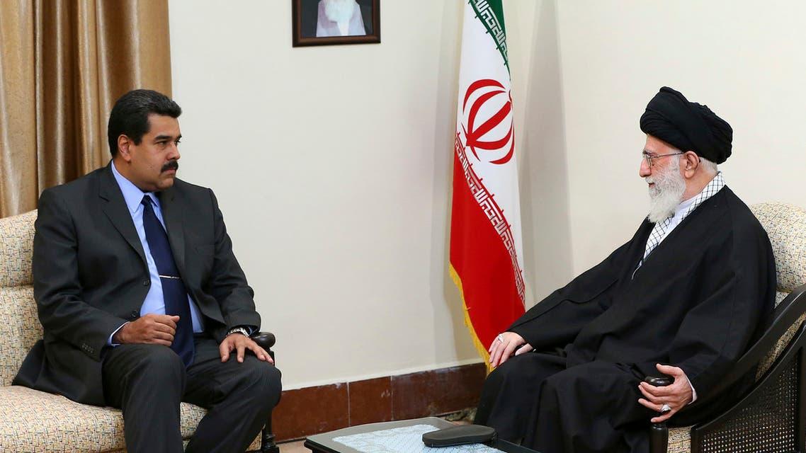 Supreme Leader Ali Khamenei, right, meets Venezuelan President Nicolas Maduro at his residence in Tehran on January 10, 2015. (AP)
