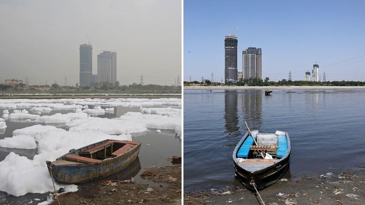 صورة لأحد الأنهار في الهند قبل وبعد فرض قيود كورونا