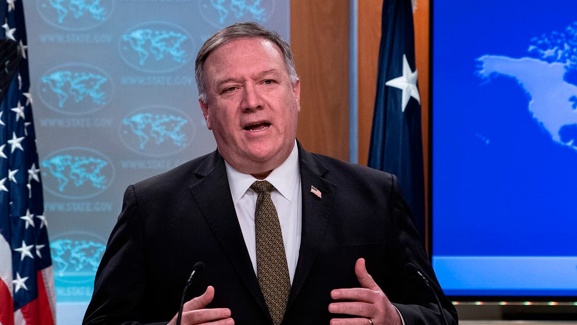 The US Secretary of State Mike Pompeo speaks during a press briefing at the State Department on April 22, 2020, in Washington. (AP)