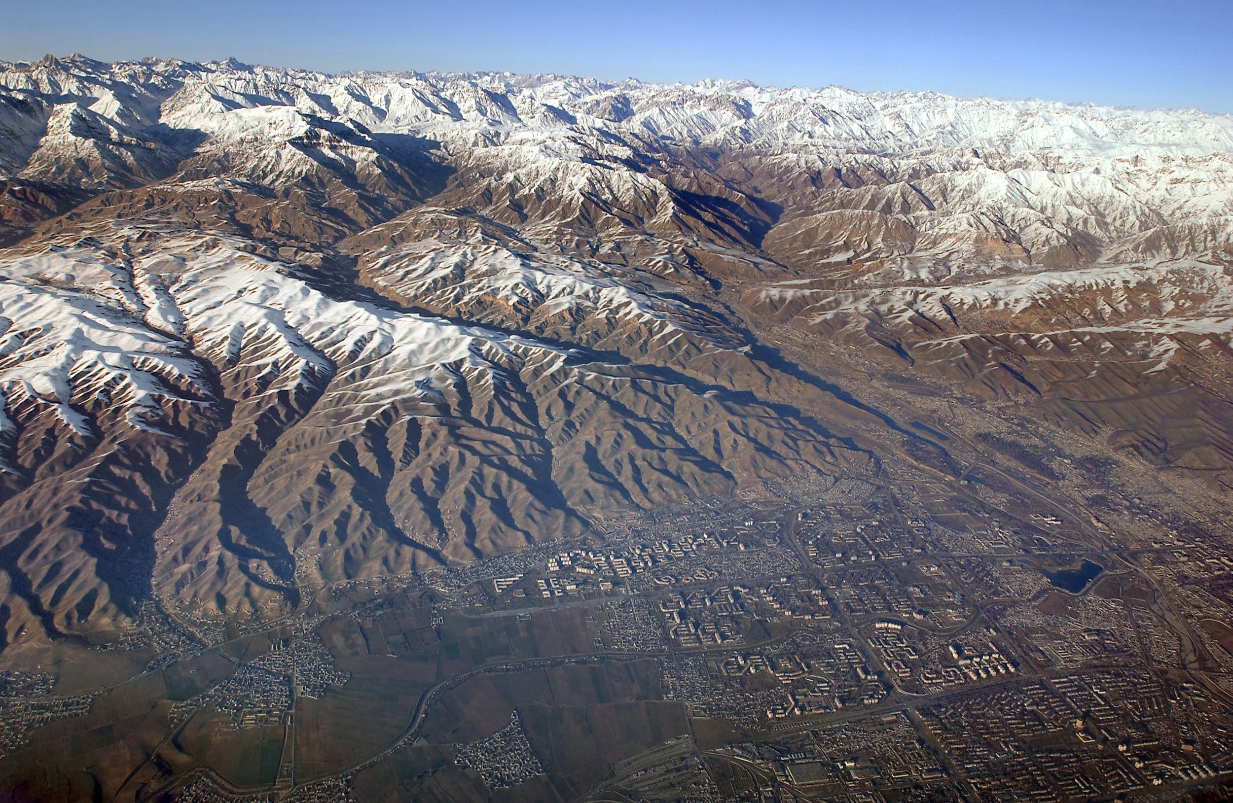 Aerial view of the capital of Tajikistan, Dushanbe, taken January 28, 2002. (AFP)