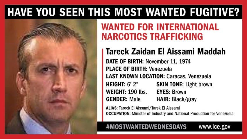 US Immigration and Customs Enforcement's Most Wanted Fugitive poster for Venezuelan official Tareck El Aissami.
