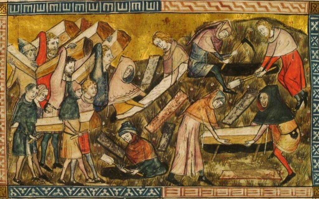 رسم تخيلي يجسد دفن جثث ضحايا الطاعون الأسود