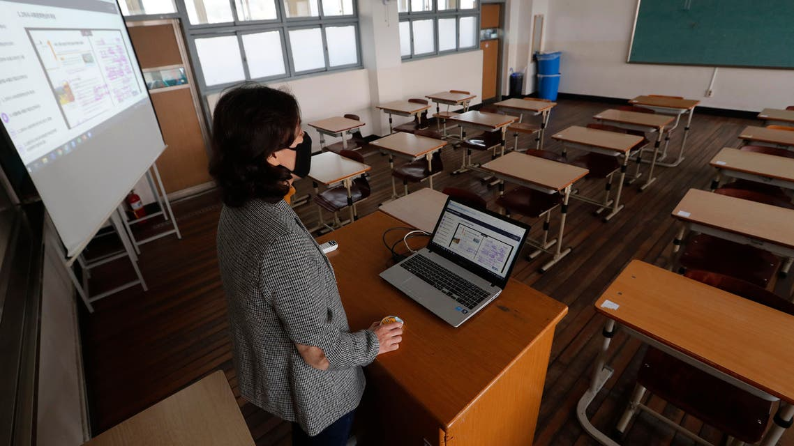 An unidentified teacher gives an online class amid the new coronavirus outbreak at Seoul girls' high school in Seoul on April 9, 2020. (AP)