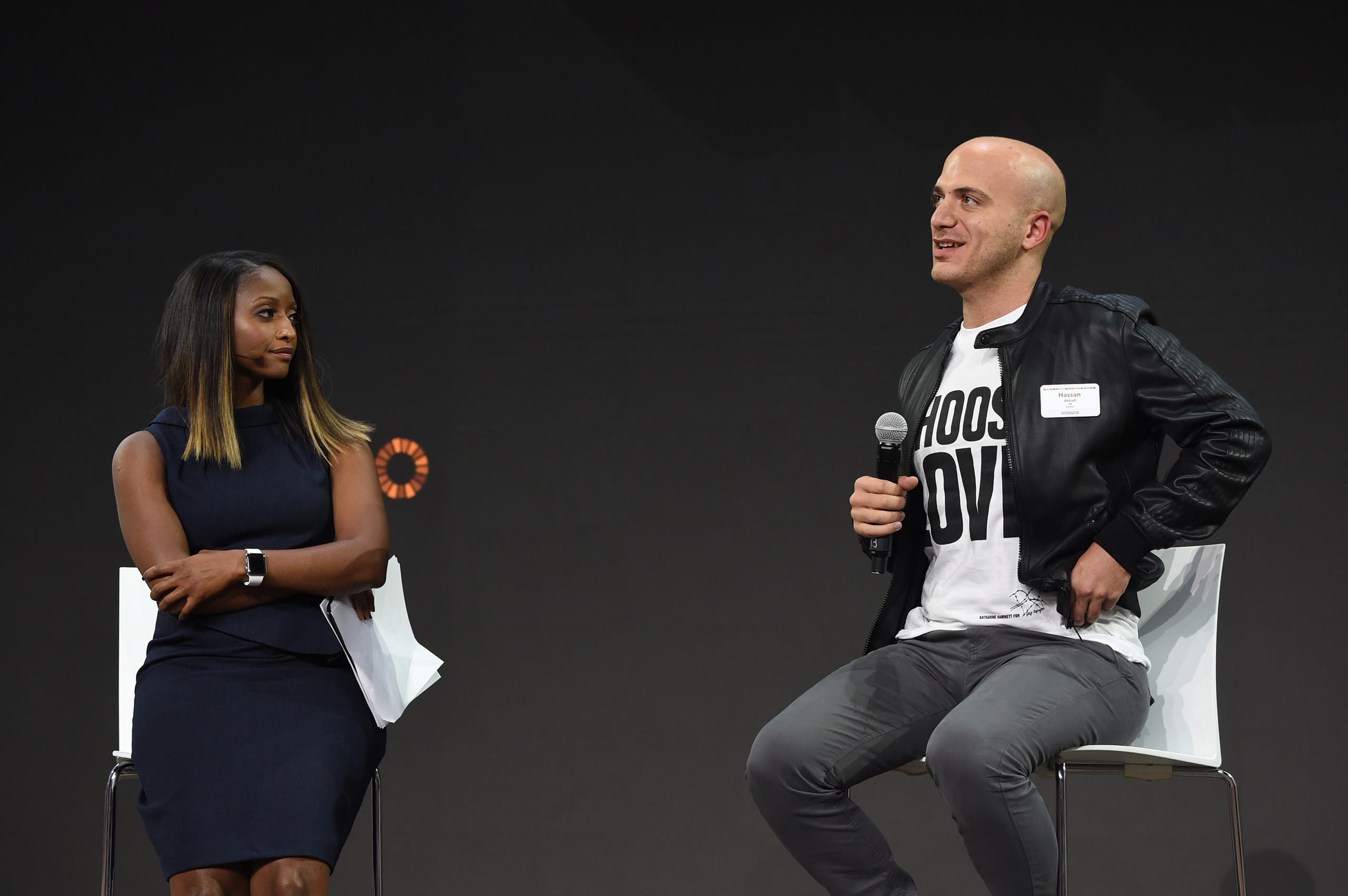 Isha Sesay and Hassan Akkad speak at Goalkeepers 2017, at Jazz at Lincoln Center on September 20, 2017 in New York City. (AFP)