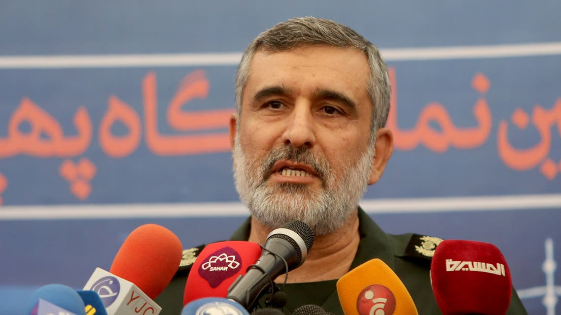 General Amir Ali Hajizadeh, the head of the Revolutionary Guard's aerospace division, speaks in Tehranon September 21, 2019. (AFP)