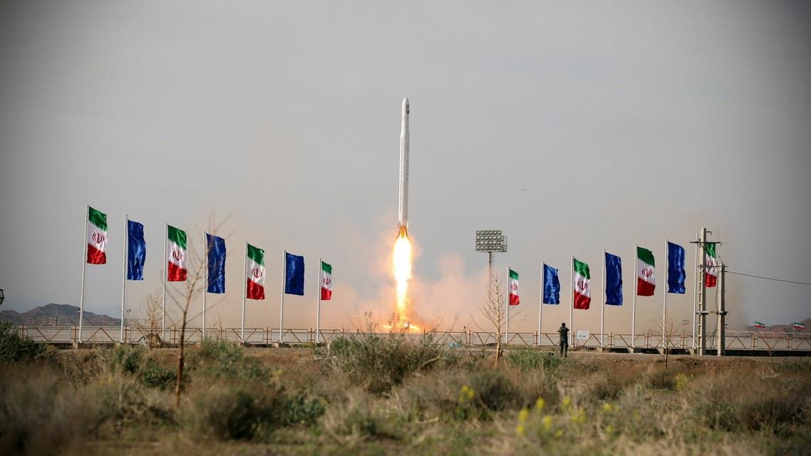 A first military satellite named Noor is launched into orbit by Iran's Revolutionary Guards Corps, in Semnan, Iran April 22, 2020. (Reuters)
