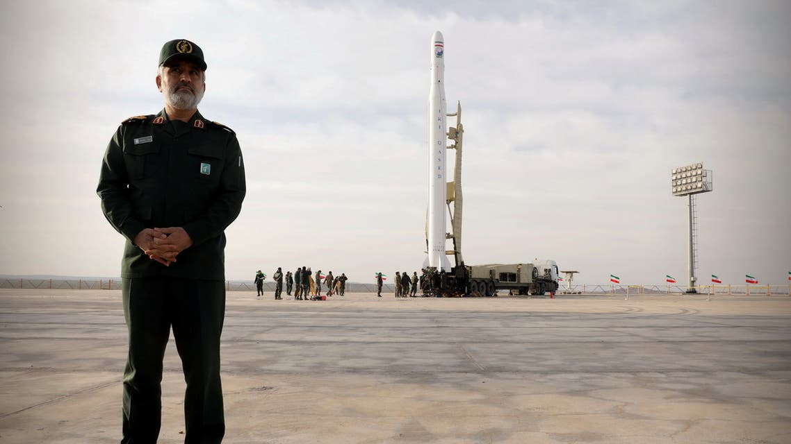 Amirali Hajizadeh, head of the aerospace division of the Revolutionary Guards, stands before a launch of the first military satellite named Noor into orbit by the Iran's Revolutionary Guards Corpse, in Semnan, Iran April 22, 2020. WANA/Sepah News via REUTERS THIS IMAGE HAS BEEN SUPPLIED BY A THIRD PARTY.