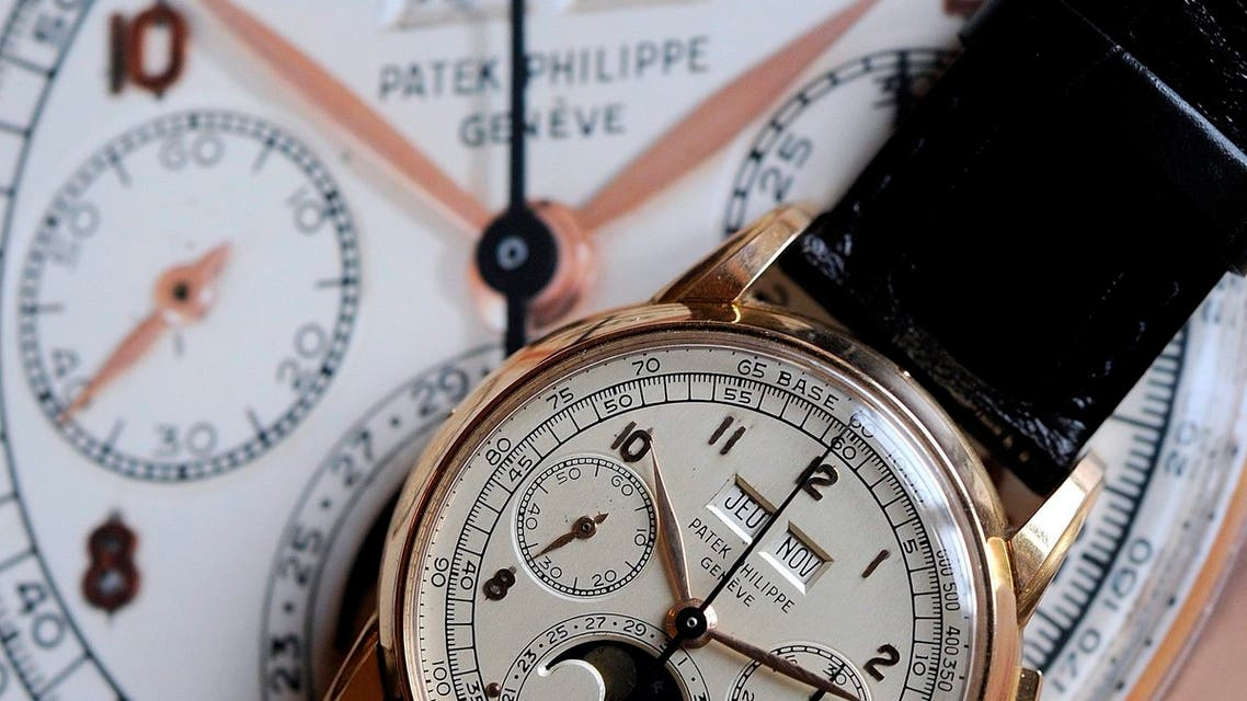 A pink gold perpetual calendar chronograph wristwatch by Patek Philippe with moon-phases, 1951, is displayed during a press preview in Geneva, Switzerland. (File Photo: AP)