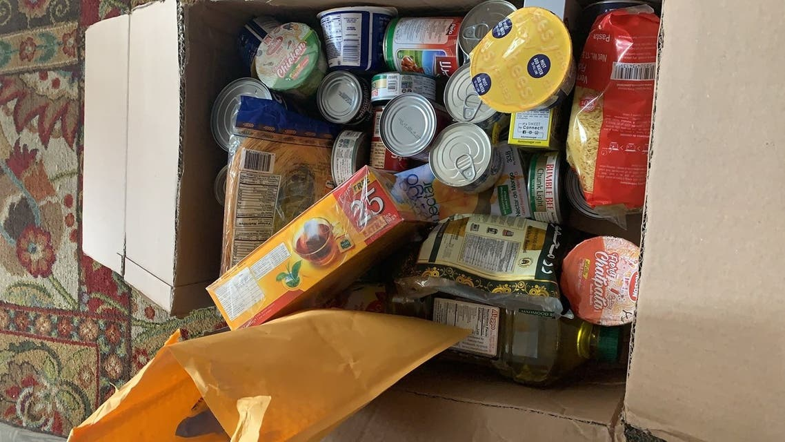 A care package delivered by the Bahrain Embassy in DC to a citizen. (Twitter)