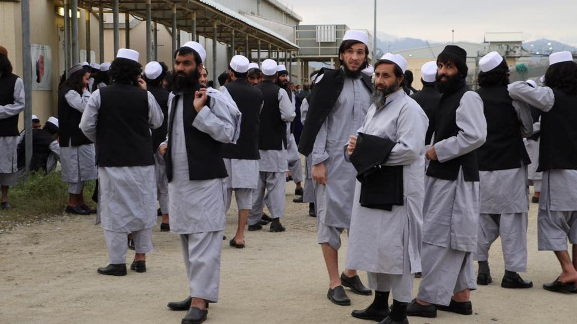 Newly freed Taliban prisoners are seen at Bagram prison, north of Kabul, Afghanistan April 11, 2020. Picture taken April 11, 2020. National Security Council of Afghanistan/Handout via REUTERS THIS IMAGE HAS BEEN SUPPLIED BY A THIRD PARTY. NO RESALES. NO ARCHIVES