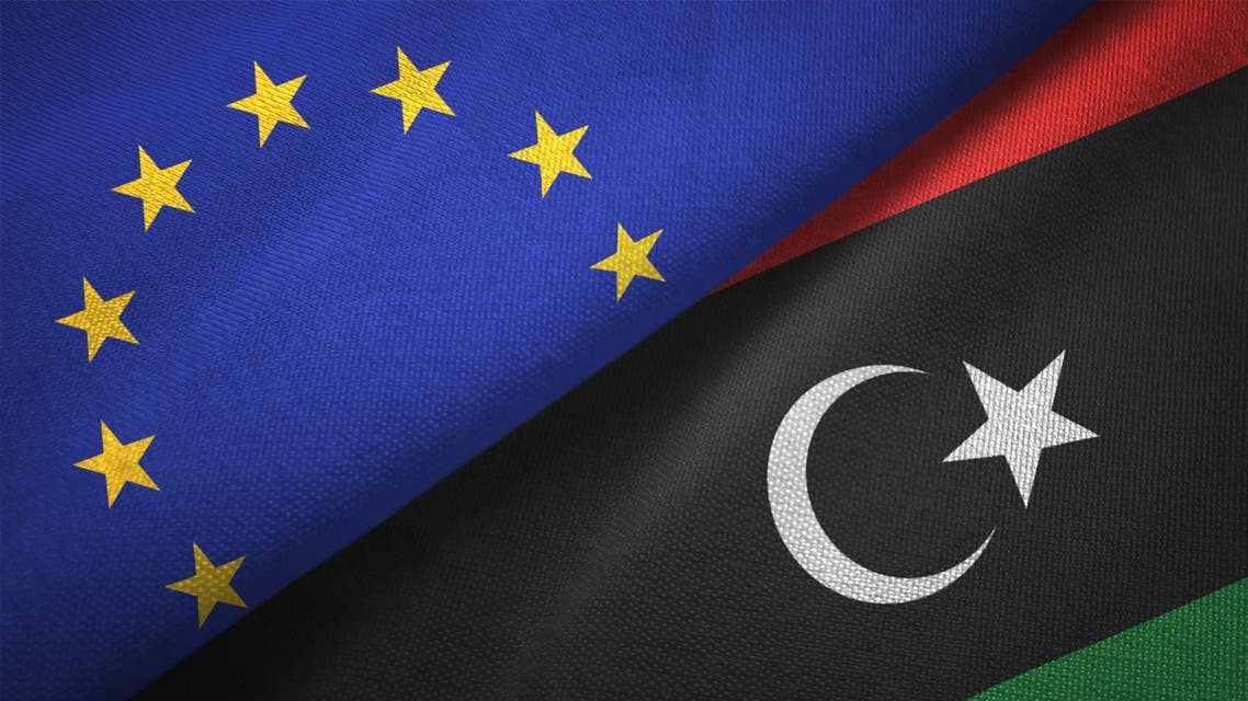 Libya and European Union two flags together realations textile cloth fabric texture stock photo