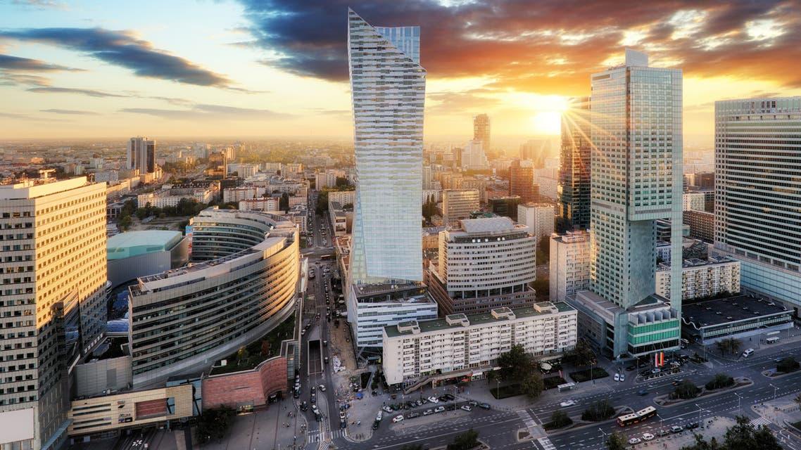 Sunset panorama of Warsaw, capital of Poland, Europe stock photo