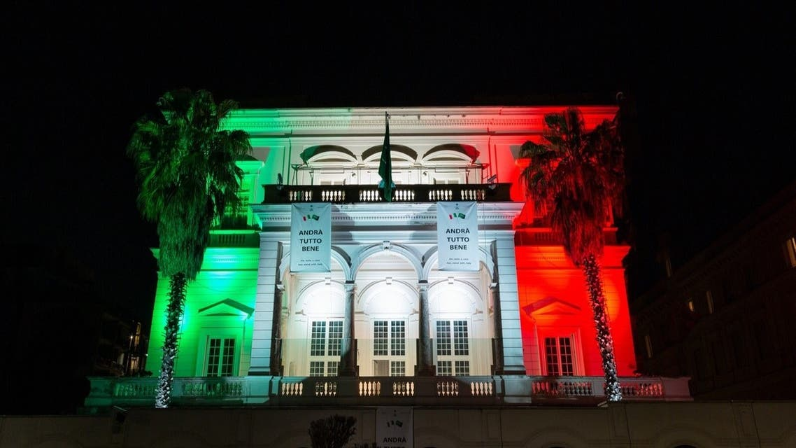 Saudi Arabia's embassy in Rome is seen illuminated with the colors of the Italian flag on the occasion of Italy's Liberation Day, on Saturday, April 25, 2020. (Twitter)