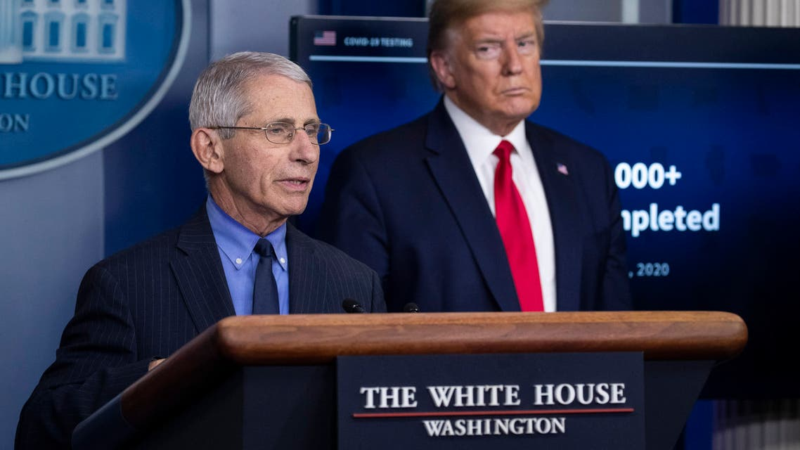 Dr. Anthony Fauci, director of the National Institute of Allergy and Infectious Diseases, talks about the coronavirus, as President Donald Trump listens, in the James Brady Press Briefing Room of the White House, on Friday, April 17, 2020, in Washington. (AP)