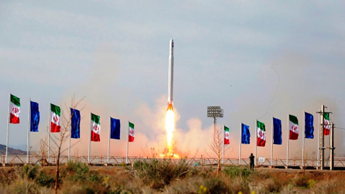 In this photo released Wednesday, April 22, 2020, by Sepahnews, an Iranian rocket carrying a satellite is launched from an undisclosed site believed to be in Iran's Semnan province. (AP)